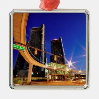 Allee Detroits Michigan Jefferson Quadratisches Silberfarbenes Ornament