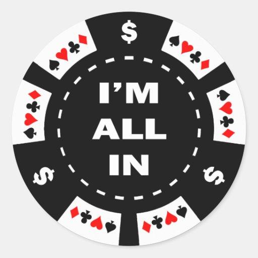Aller ich bin im Poker-Chip Stickers
