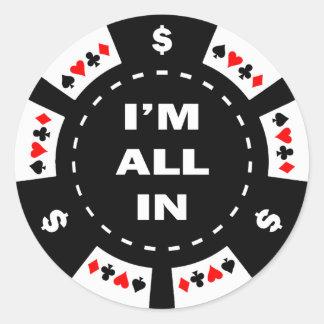 Aller ich bin im Poker-Chip Runder Aufkleber