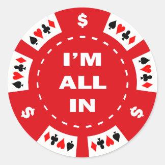 Aller ich bin im roten Poker-Chip Runde Sticker