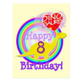 Alles Gute zum Geburtstag 8 Jahre gelbe Postkarte