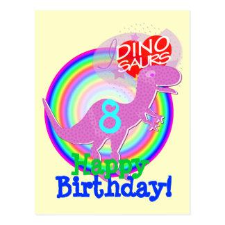 Alles Gute zum Geburtstag 8 Jahre lila T-Rex Dino Postkarte