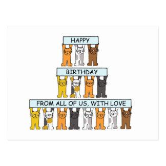 Alles Gute zum Geburtstag der Katzen von allen uns Postkarte
