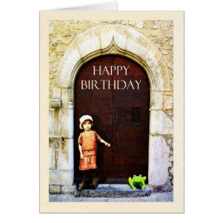 Alles Gute zum Geburtstag, kleines Mädchen und Grußkarte