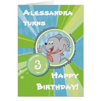 alles Gute zum Geburtstag! mit kleiner Maus auf Grußkarte