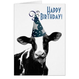 Alles- Gute zum GeburtstagBauer - Party-Hut-Kuh Grußkarte