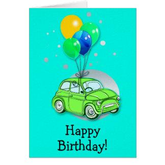 Alles- Gute zum Geburtstagkarte: Auto und Ballone Karte