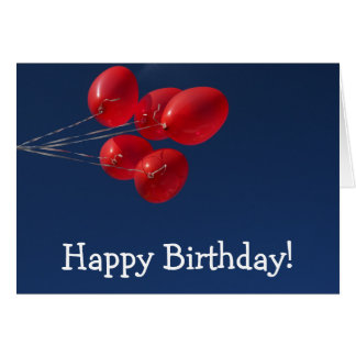 Alles- Gute zum Geburtstagkarte: Fünf rote Ballone Karte