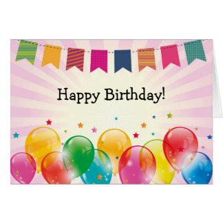 Alles- Gute zum Geburtstagkarte: Girlande, Ballone Karte