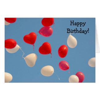 Alles- Gute zum Geburtstagkarte: Herz-Ballons Karte