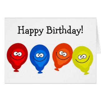 Alles- Gute zum Geburtstagkarte: Lächelnde Ballone Karte