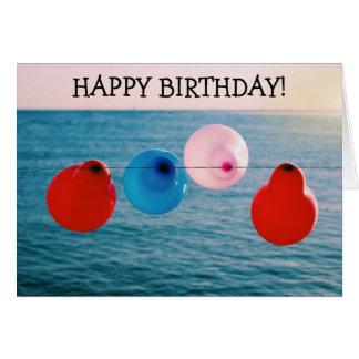 Alles- Gute zum Geburtstagkarte: Vier Ballone auf Karte