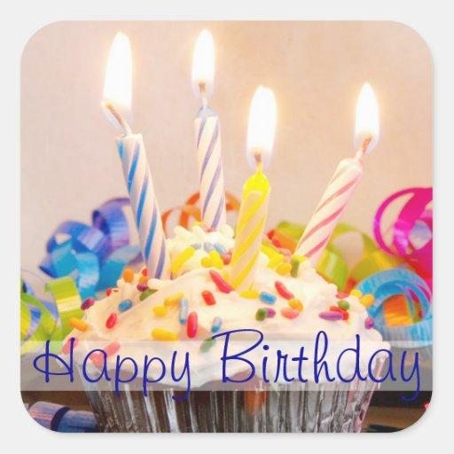 Alles- Gute zum Geburtstagkleiner kuchen mit Kerze Stickers