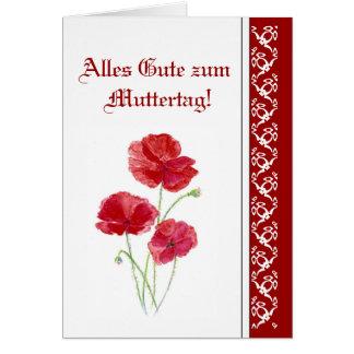 Alles Gute zum Muttertag rote PoppiesGarden Blumen Grußkarte