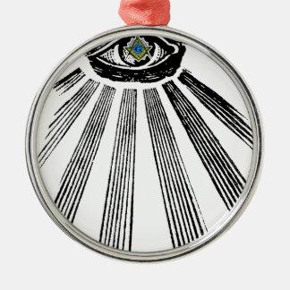 Alles sehende Augen-Quadrat und Kompass Freimaurer Rundes Silberfarbenes Ornament