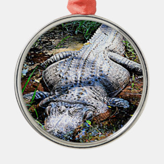 Alligator (Florida, Louisiana und Mississippi) Rundes Silberfarbenes Ornament