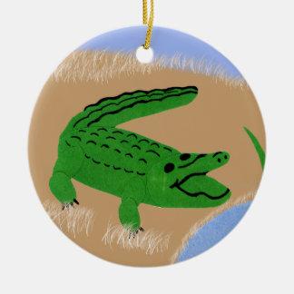 Alligatorgrüne wunderliche Cartoon-Kunst Rundes Keramik Ornament