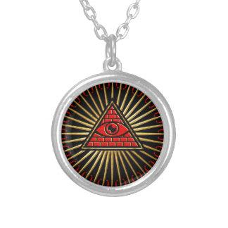 Allsehendes Auge Gottes, Pyramide, Vorsehung Versilberte Kette