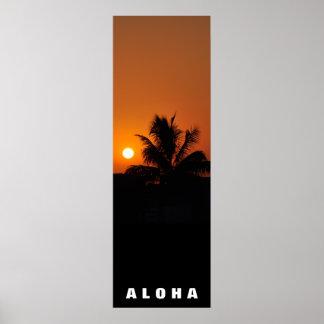 Aloha Hawaii-Palme-Tropen-Sonnenuntergang-Reise Poster