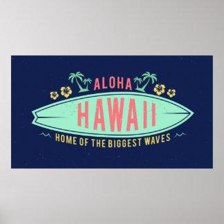 Aloha hawaiisches Surferplakat Poster