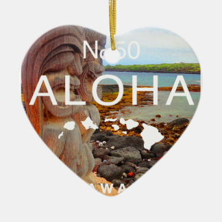 Aloha keine 50 Tiki Keramik Herz-Ornament