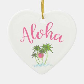 Aloha Strand-hawaiische Art Summera Keramik Herz-Ornament