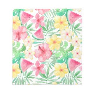 Aloha tropische exotische Blumen und Früchte Notizblock