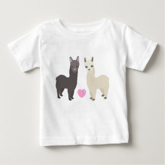 Alpakas und Herz Baby T-shirt