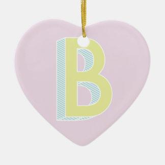 Alphabet malvenfarbenes B Keramik Herz-Ornament