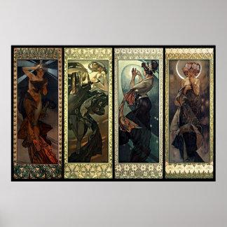 Alphonse Mucha der Mond und die Sterne Poster