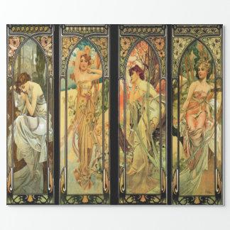 Alphonse Mucha, herrliche Damen, Kunst-Deko Geschenkpapier