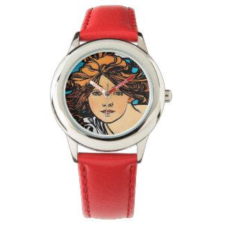 Alphonse Mucha - Retro Kunst Nouveau Armbanduhr