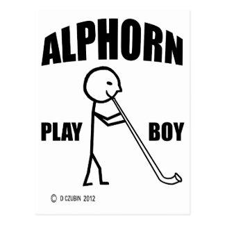 Alphorn Spiel-Junge Postkarte