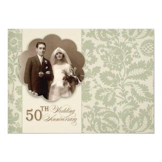 alte 50. Jahrestags-Fotoeinladung 12,7 X 17,8 Cm Einladungskarte