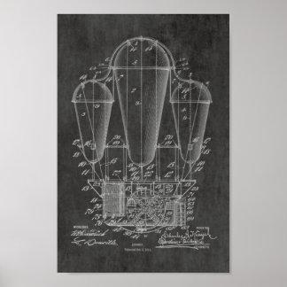 Alte Ballon-Patent-Kunst des Luftschiff-1911, die Poster