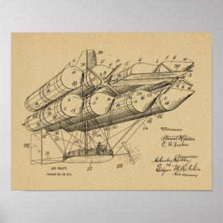 Alte Flugzeug-Patent-Kunst des Luftschiff-1912, Poster