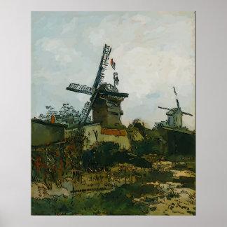 Alte französische Windmühle Poster