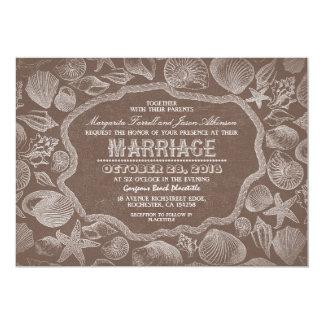 alte Hochzeit des Vintagen Strandes der Seashells Karte