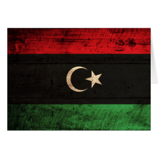 Alte hölzerne Libyen-Flagge Karte