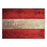 Alte hölzerne Österreich-Flagge Grußkarte