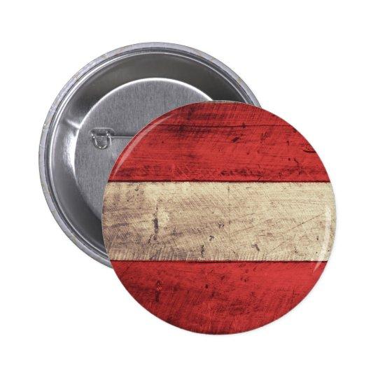 Alte hölzerne Österreich-Flagge Runder Button 5,7 Cm