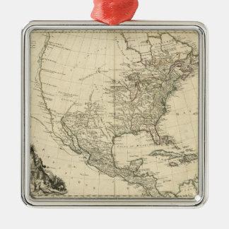 Alte Karte von Nordamerika (1783) Silbernes Ornament