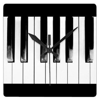 Alte Klavier-Schlüssel Quadratische Wanduhr