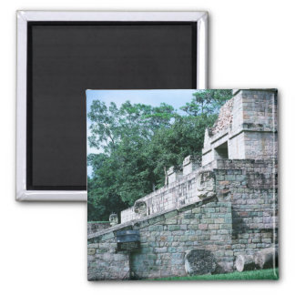 Alte Mayaruine-quadratisches Foto entwarf Farbe Quadratischer Magnet