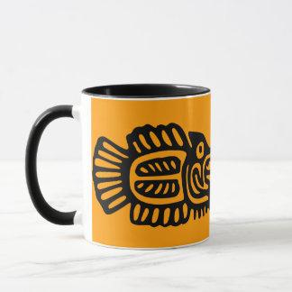 Alte mexikanische Fisch-Motiv-Keramik-Tasse Tasse