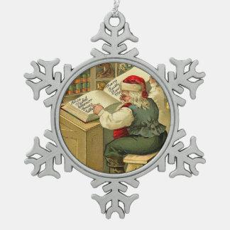 Alte Mode Sankt in seinem Geschäft Schneeflocken Zinn-Ornament