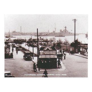 Alte Postkarte - HMS Hood, Portsmouth-Hafen
