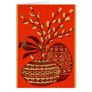 Alte Rot-und Goldrussische Vintage Karte