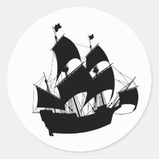 Alte Schiffs-Silhouette-Aufkleber Runder Aufkleber