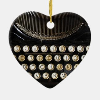 alte Schreibmaschine Keramik Herz-Ornament
